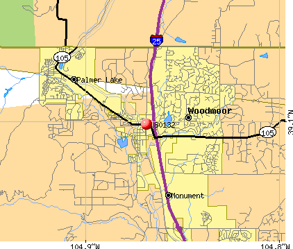 Woodmoor, CO (80132) map