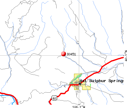 Hot Sulphur Springs, CO (80451) map