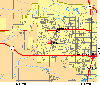 Greeley, CO (80634) map