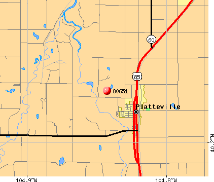 Platteville, CO (80651) map
