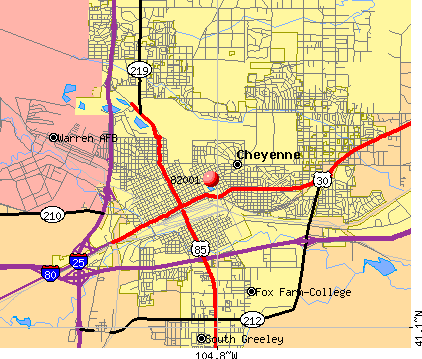 Cheyenne, WY (82001) map