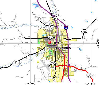 Sheridan, WY (82801) map