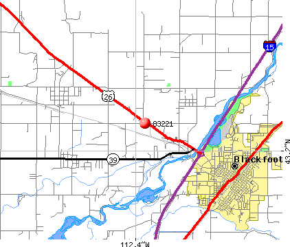 Blackfoot, ID (83221) map