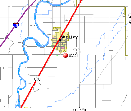 Shelley, ID (83274) map
