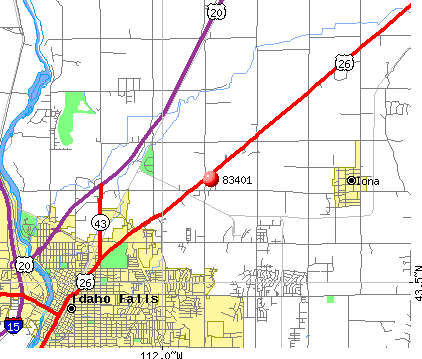 Idaho Falls, ID (83401) map