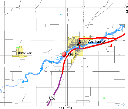 St. Anthony, ID (83445) map