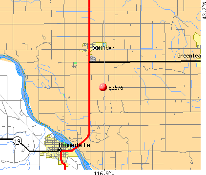 Wilder, ID (83676) map
