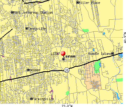 Coram, NY (11727) map
