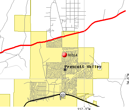 Prescott Valley, AZ (86314) map