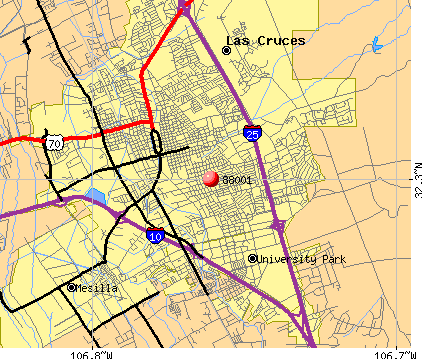 Las Cruces, NM (88001) map