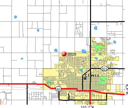 Clovis, NM (88101) map