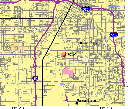 Paradise, NV (89109) map