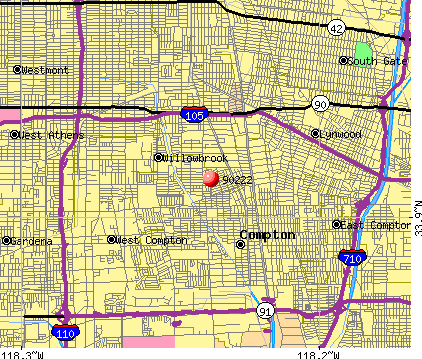 Compton, CA (90222) map