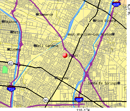 Downey, CA (90240) map