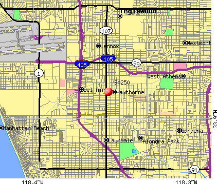 Hawthorne, CA (90250) map