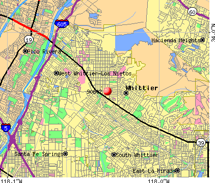 Whittier, CA (90602) map