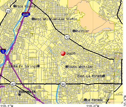 Whittier, CA (90605) map