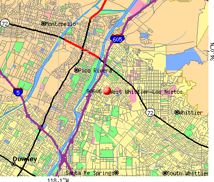 West Whittier-Los Nietos, CA (90606) map