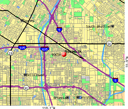 Norwalk, CA (90650) map