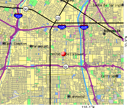 Bellflower, CA (90706) map