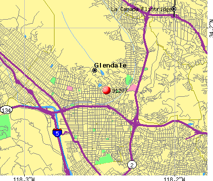 Glendale, CA (91207) map