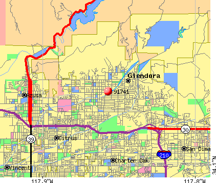 Glendora, CA (91741) map