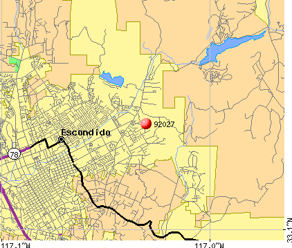 Escondido, CA (92027) map