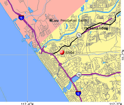 Oceanside, CA (92054) map