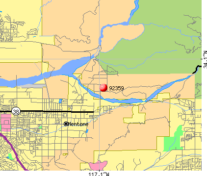 Mentone, CA (92359) map