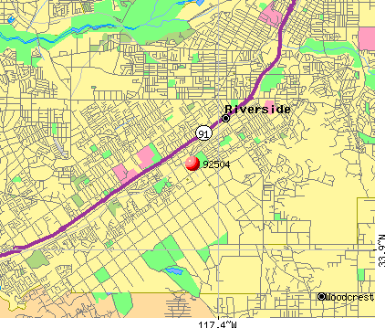 Riverside, CA (92504) map