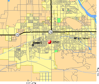 Hemet, CA (92543) map