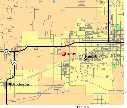 Hemet, CA (92545) map