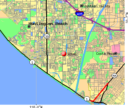Huntington Beach, CA (92646) map