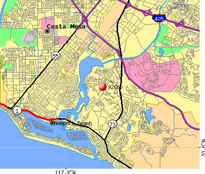 Newport Beach, CA (92660) map