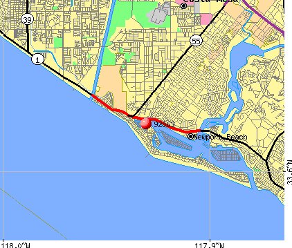 Newport Beach, CA (92663) map