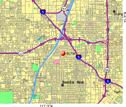 Santa Ana, CA (92706) map