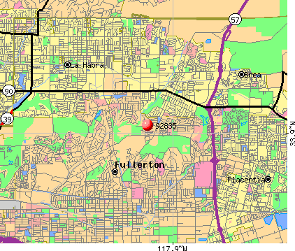 Fullerton, CA (92835) map
