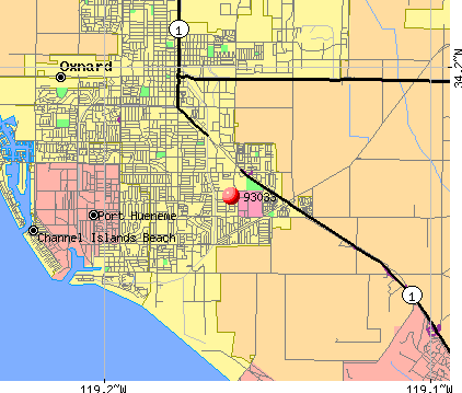 Oxnard, CA (93033) map