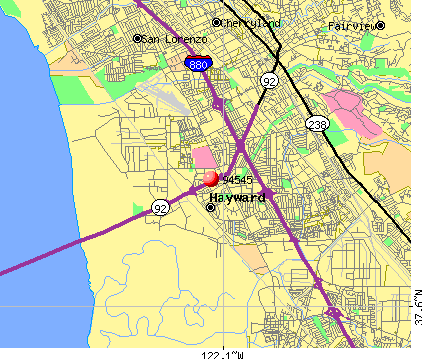 Hayward, CA (94545) map