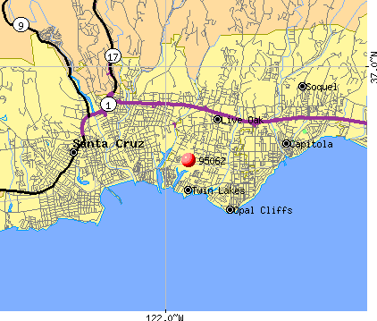 Santa Cruz, CA (95062) map