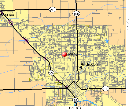 Modesto, CA (95350) map