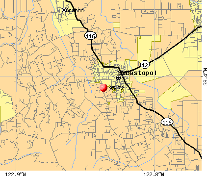 Occidental, CA (95472) map