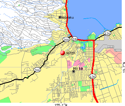 Hilo, HI (96720) map