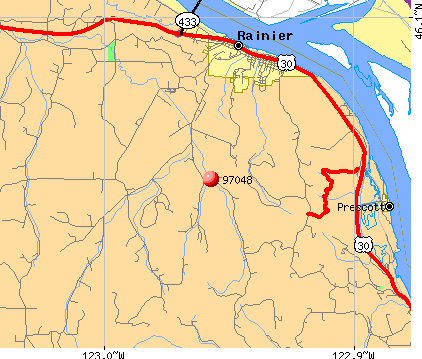 Rainier, OR (97048) map