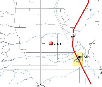 Haines, OR (97833) map