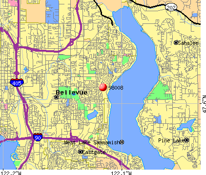 Bellevue, WA (98008) map