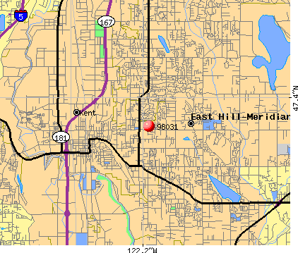 East Hill-Meridian, WA (98031) map