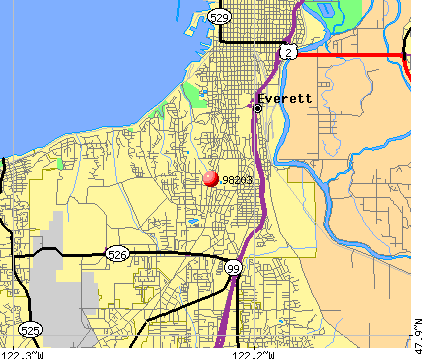 Everett, WA (98203) map