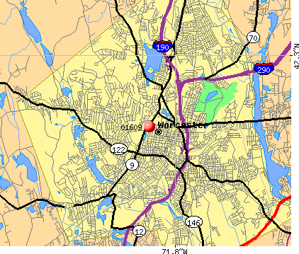 Worcester, MA (01609) map