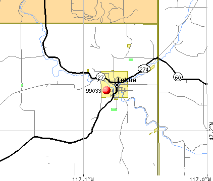 Tekoa, WA (99033) map